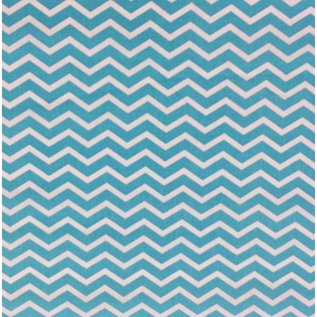 Tissu Coton Imprimé Arty Chevrons Bleu turquoise - Par 10 cm