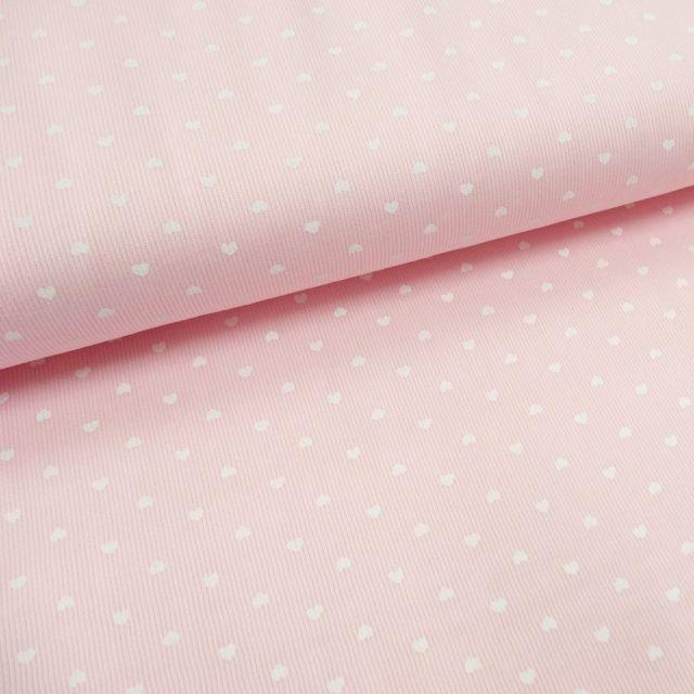 Tissu Piqué de coton Rose clair Coeurs Blancs 3 mm - Par 10 cm