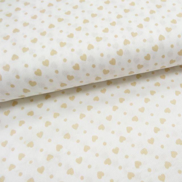 Tissu Piqué de coton Blanc Coeurs Beige 5 mm - Par 10 cm