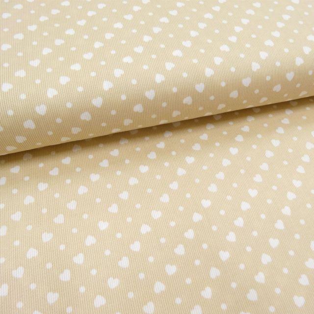 Tissu Piqué de coton Beige Coeurs Blancs 5 mm - Par 10 cm