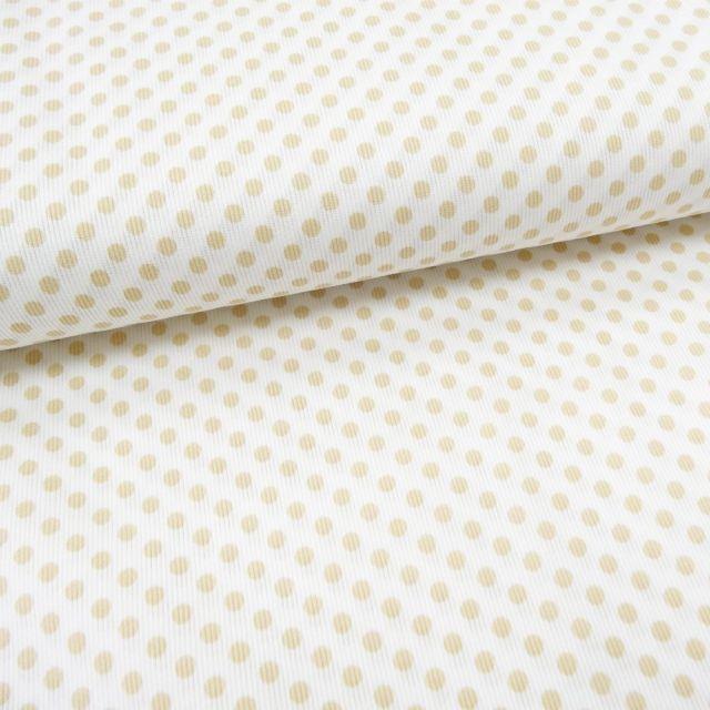 Tissu Piqué de coton Blanc Pois Beige 5 mm - Par 10 cm
