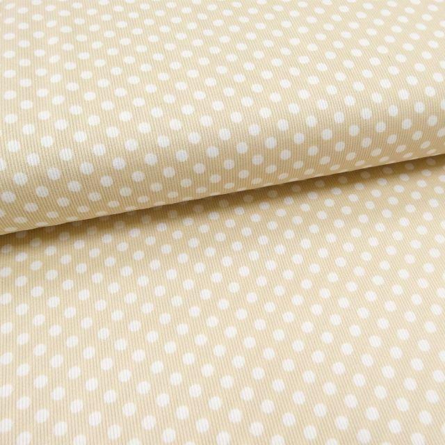 Tissu Piqué de coton Beige Pois Blancs 5 mm - Par 10 cm