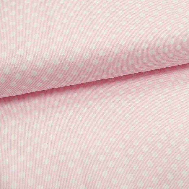 Tissu Piqué de coton Rose clair Pois Blancs 5 mm - Par 10 cm
