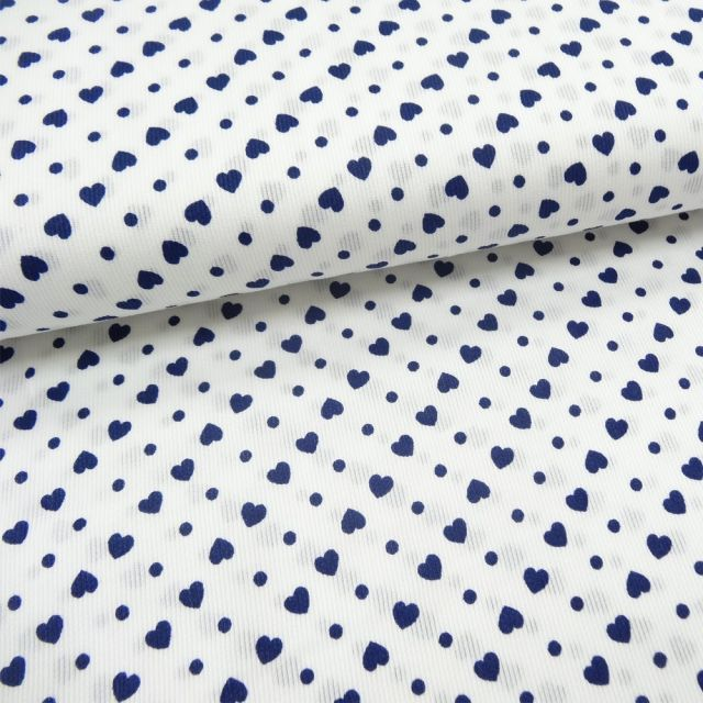Tissu Piqué de coton Blanc Coeurs Marine 6 mm - Par 10 cm