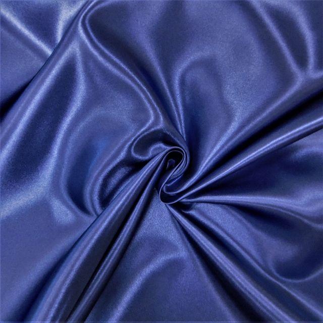 Tissu Doublure Satin Deluxe Bleu marine - Par 10 cm