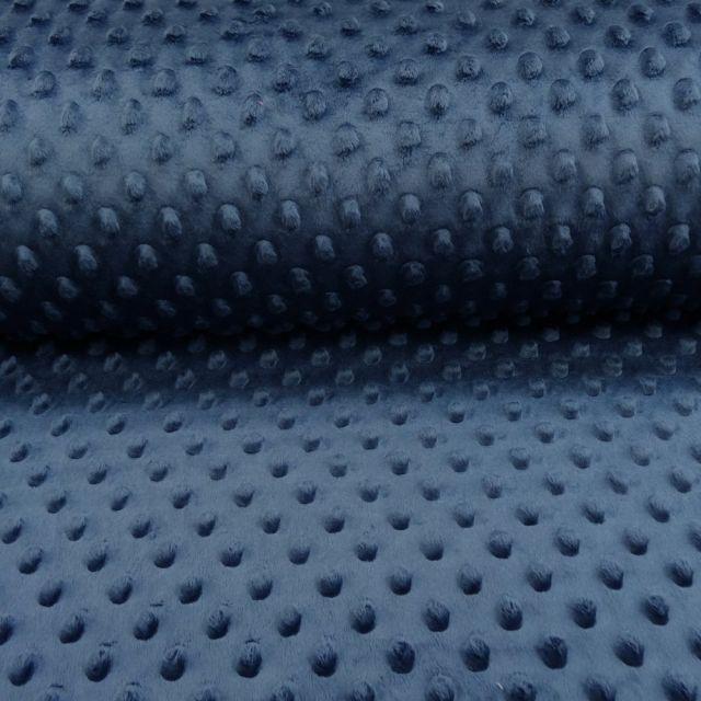 Tissu Minky Ultra doux Pois Bleu marine - Par 10 cm