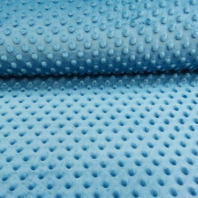 Tissu Minky Ultra doux Pois Bleu Pétrole - Par 10 cm