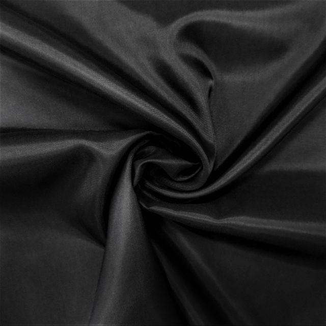 Tissu Doublure Pongé Noir - Par 10 cm