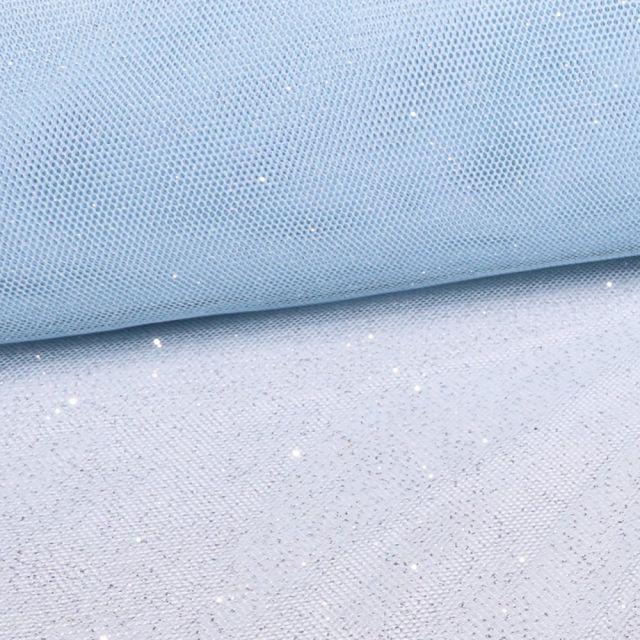 Tissu Tulle Pailettes Bleu Ciel - Au mètre