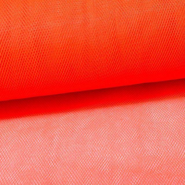 Tissu Tulle Souple Grande Largeur Orange Fluo - Au mètre