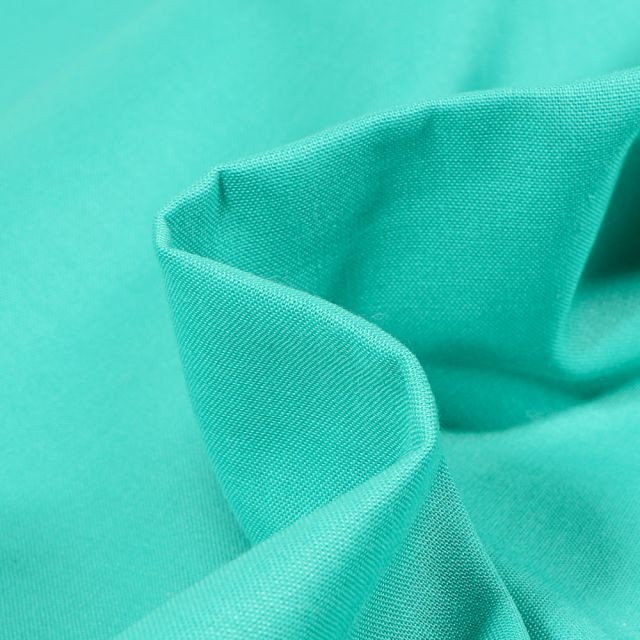 Tissu Popeline de coton unie Bio Vert turquoise - Par 10 cm