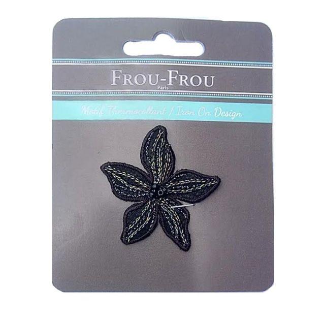Ecusson Thermocollant Fleur Noire Brodée