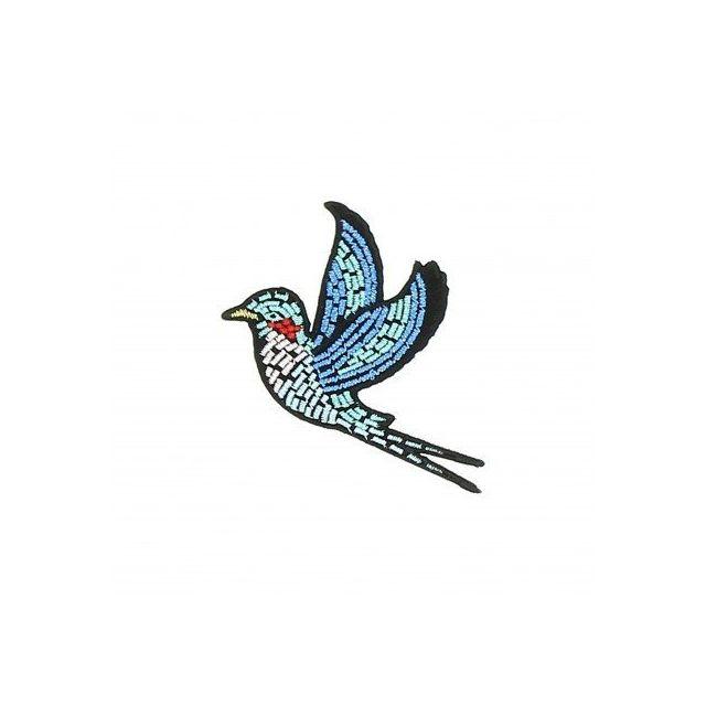 Ecusson Thermocollant Oiseau en vol Broderie Métallisées