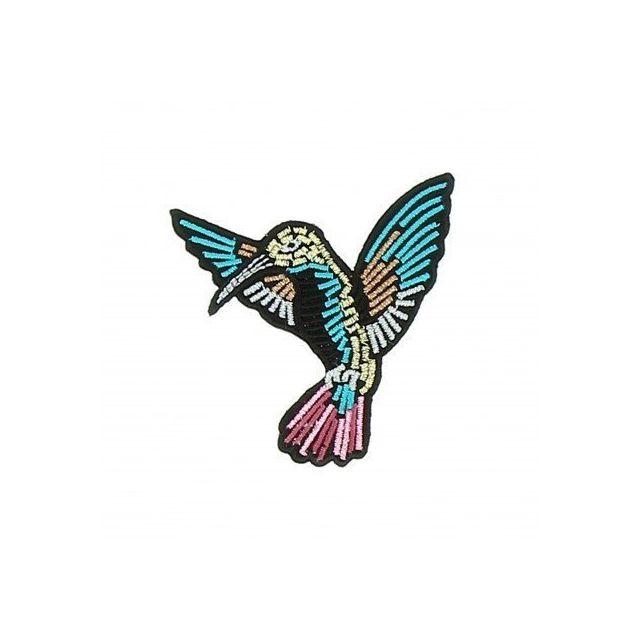 Ecusson Thermocollant Colibri en vol Broderie Métallisées