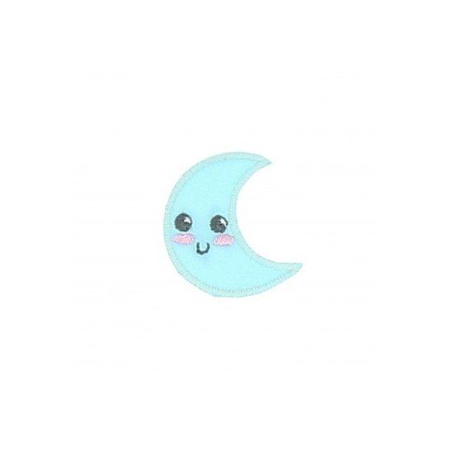 Ecusson Thermocollant Lune souriante Bleue
