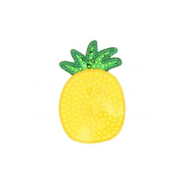 Ecusson Thermocollant Ananas en sequins transparents sur fond orangé et verts