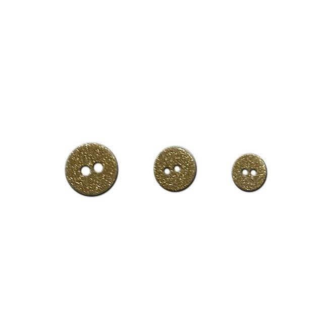 Bouton polyester pailleté doré à 2 trous - 3 tailles