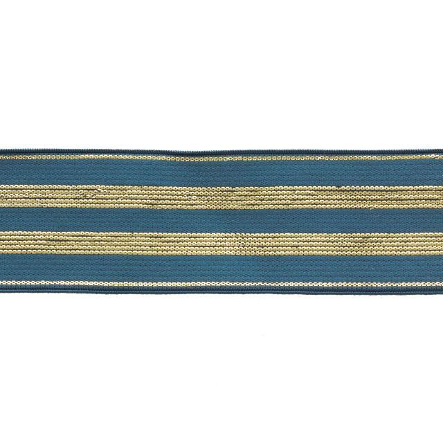 Élastique Plat Lurex Bleu jeans rayures or 30 mm x1m