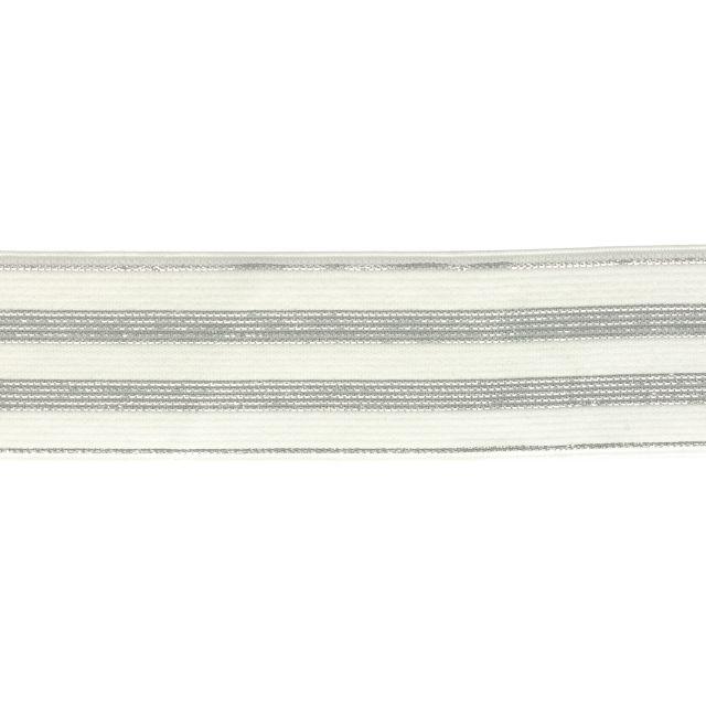 Élastique Plat Lurex Blanc rayures argent 30 mm x1m