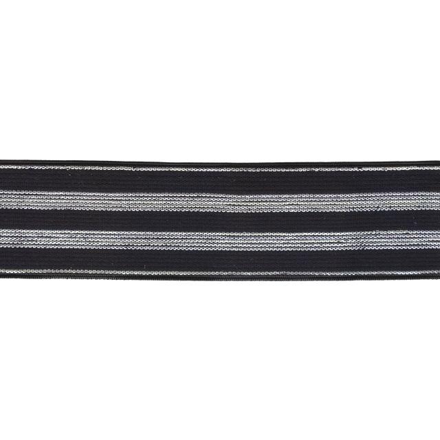 Élastique Plat Lurex Noir rayures argent 30 mm x1m