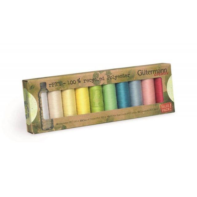 Set de 10 bobines de fil Gütermann Recyclé 100m - Couleurs pastels