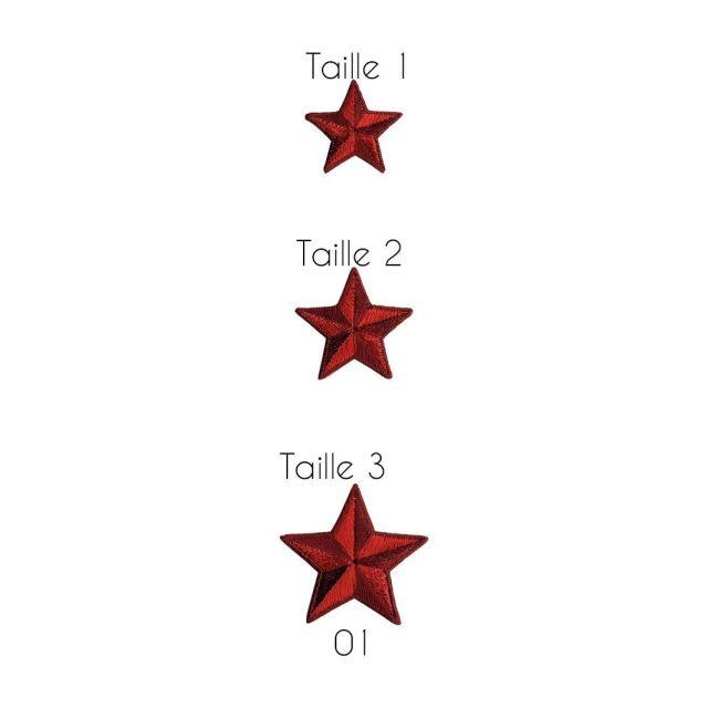 Ecusson Thermocollant Etoile Rouge et Bordeaux- 3 Tailles