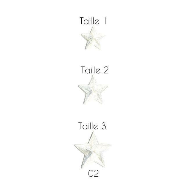 Ecusson Thermocollant Etoile 2 Blancs - 3 Tailles
