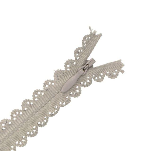 Fermeture invisible Zoé dentelle Gris clair - 2 tailles