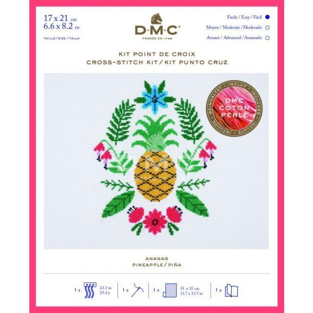 Kit Broderie Point de croix DMC Ananas 17 x 21 cm