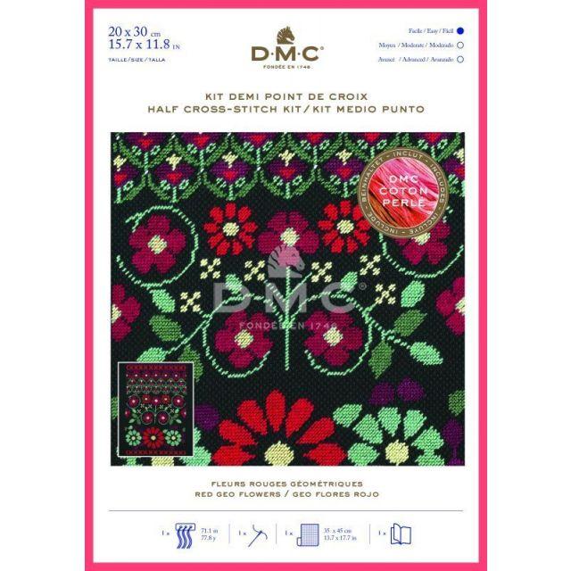 Kit Broderie Demi Point de croix DMC Fleurs 20 x 30 cm Rouges