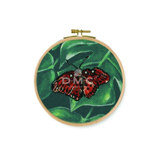 Kit Broderie Point de croix DMC Papillon 15 cm Rouge