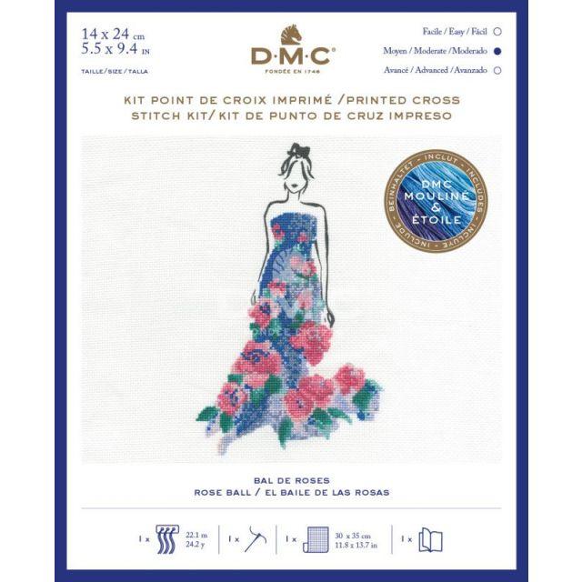Kit Broderie Point de croix DMC Bal de roses 14 x 24 cm