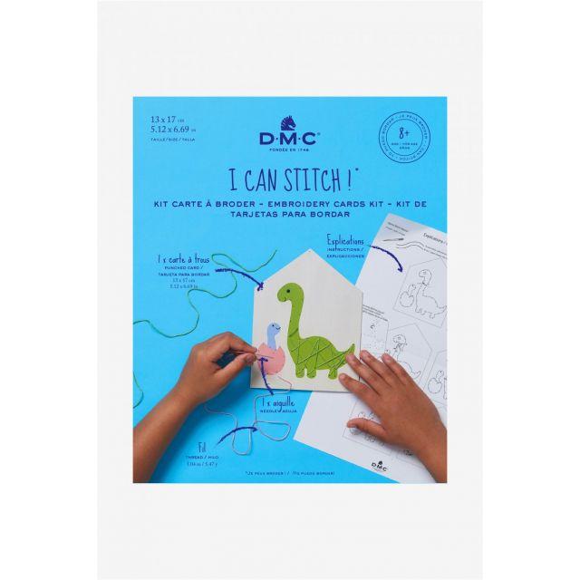 Kit carte à broder DMC - Dinosaure 13x17 cm