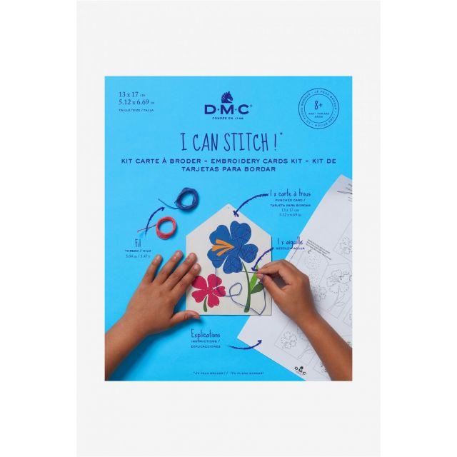 Kit carte à broder DMC - Fleur 13x17 cm