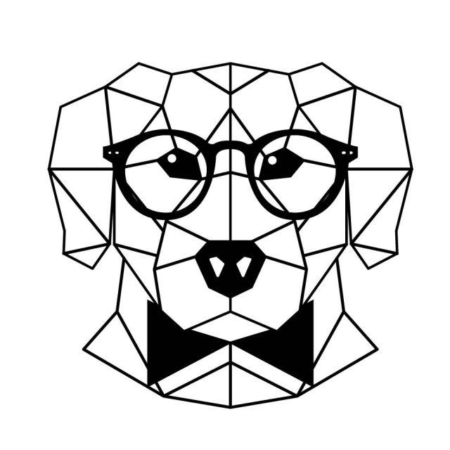 Sticker textile thermo-adhésif  7x7 cm - Dessin chien graphique à lunette