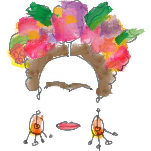 Sticker textile thermo-adhésif  7x7 cm - Dessin Frida Kahlo