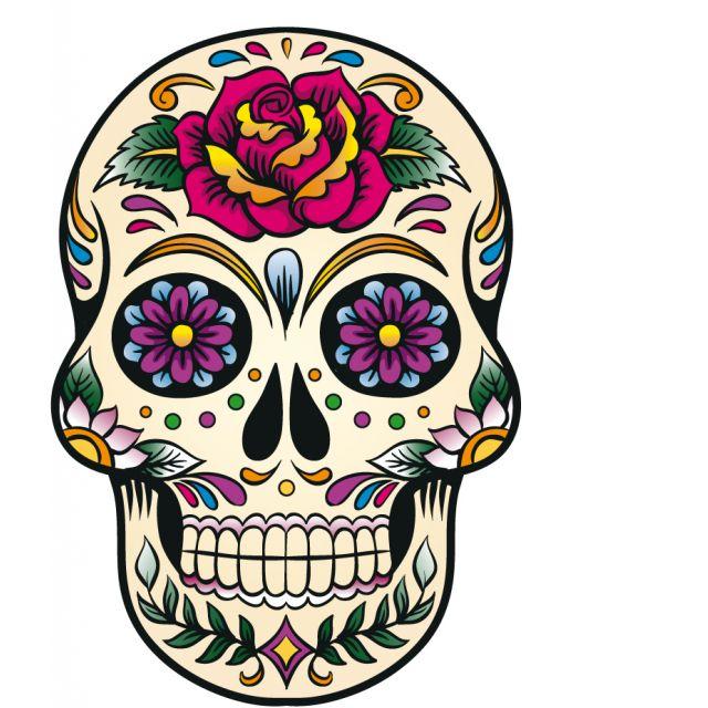 Sticker textile thermo-adhésif  9x15 cm - Tête mexicaine colorée