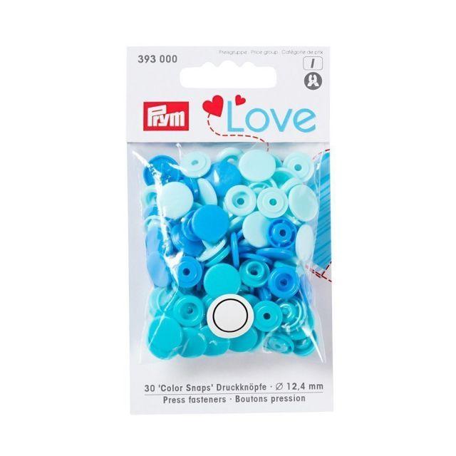 Boutons pression Prym Colors Snaps Love bleu - Sachet 30 boutons