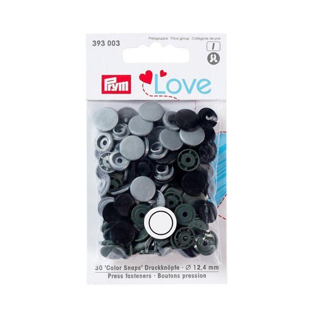 Boutons pression Prym Colors Snaps Love gris - Sachet 30 boutons