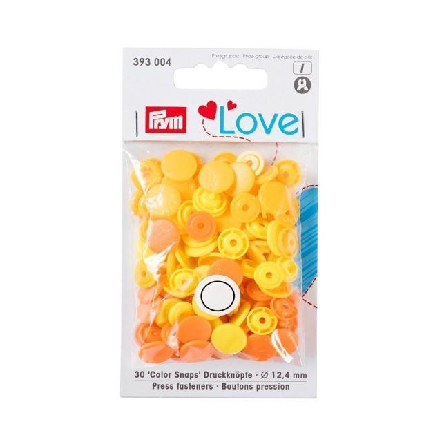 Boutons pression Prym Colors Snaps Love jaune - Sachet 30 boutons