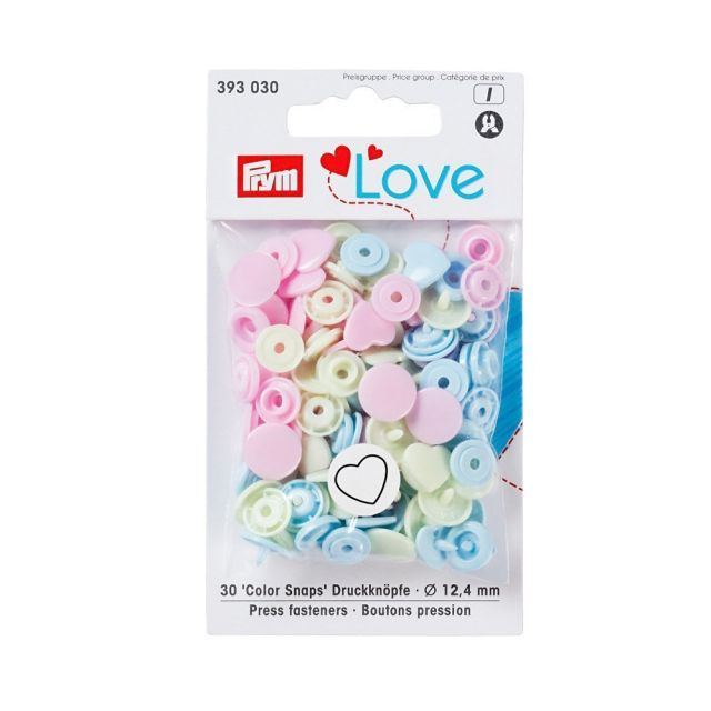 Boutons pression Prym Colors Snaps Love coeur pastel - Sachet 30 boutons