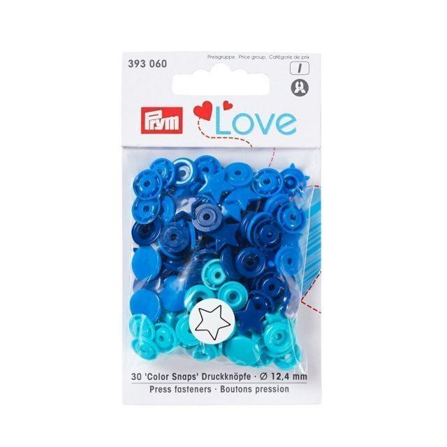 Boutons pression Prym Colors Snaps Love étoile bleu - Sachet 30 boutons