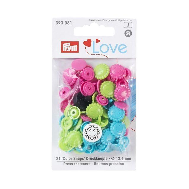 Boutons pression Prym Colors Snaps Love fleur fluo - Sachet 30 boutons