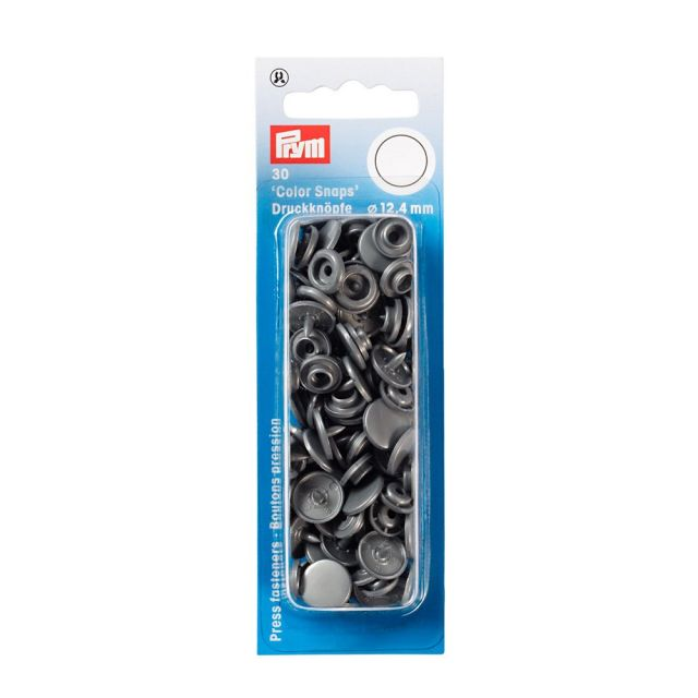 Prym 30 Boutons pression Color Snaps gris arg 12,4 mm