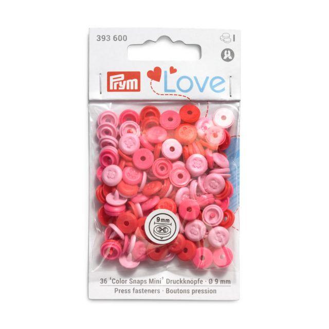 Boutons pression Prym Colors Snaps Mini Love 9mm Optique couture Rose - Sachet 36