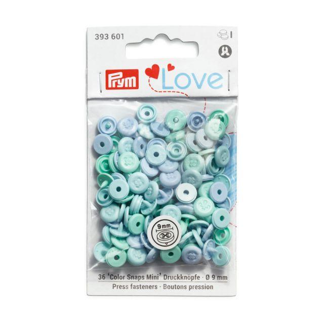 Boutons pression Prym  Love Color Snaps Mini bleu clair - sachet de 30 boutons
