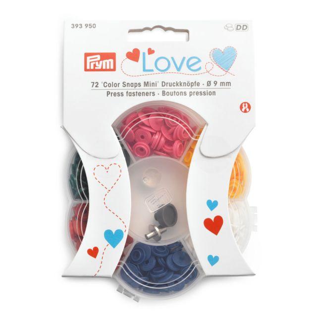 Boutons pression Color Snaps Mini Prym avec outils de pose - 6 couleurs - 70 pièces