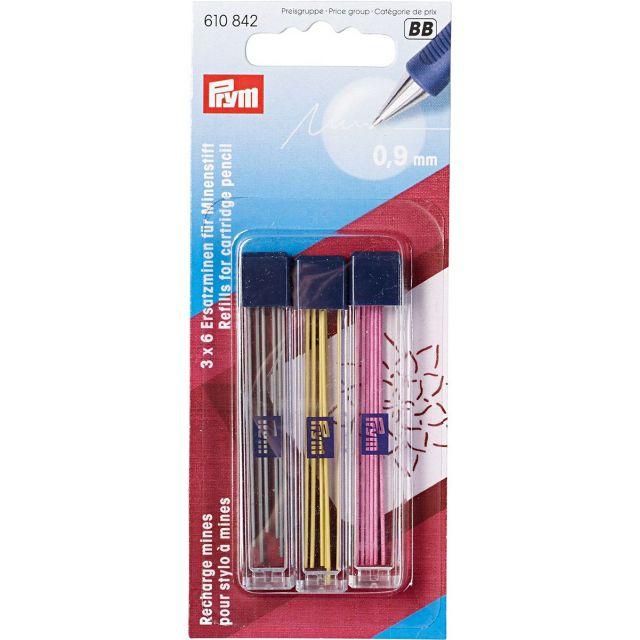 Mines de rechange pour stylot Prym 3 couleurs -  9 mm