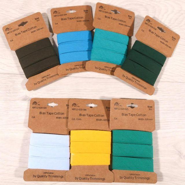 Biais Coton 20 mm - Bande de 3 mètres - 24 couleurs