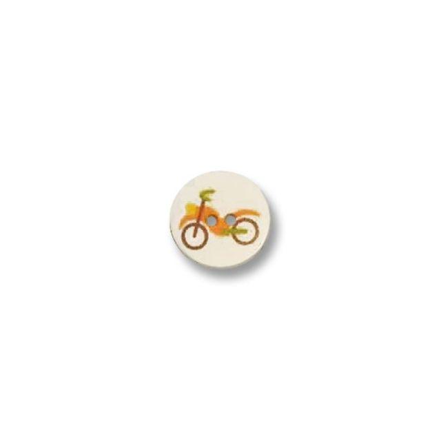 Bouton imprimé vélo 2 trous 15 mm Blanc
